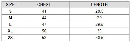 Softshell Jacket Size Chart